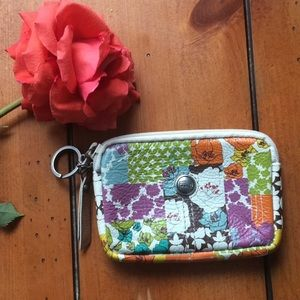 Fossil Leather Zipped Floral Wallet